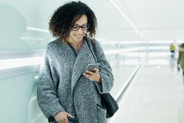 Afro american girl using mobile phone