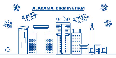 USA, Alabama, Birmingham  winter city skyline. Merry Christmas and Happy New Year decorated banner. Winter greeting card with snow and Santa Claus. Flat, line vector, linear christmas illustration