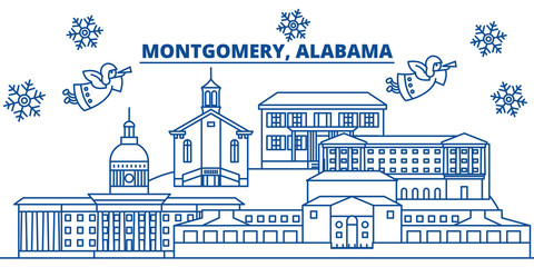 USA, Alabama, Montgomery  winter city skyline. Merry Christmas and Happy New Year decorated banner. Winter greeting card with snow and Santa Claus. Flat, line vector, linear christmas illustration