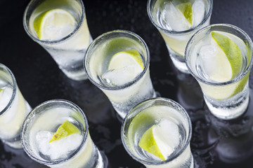 Cocktail. Vodka, gin, tequila with lime. top veiw