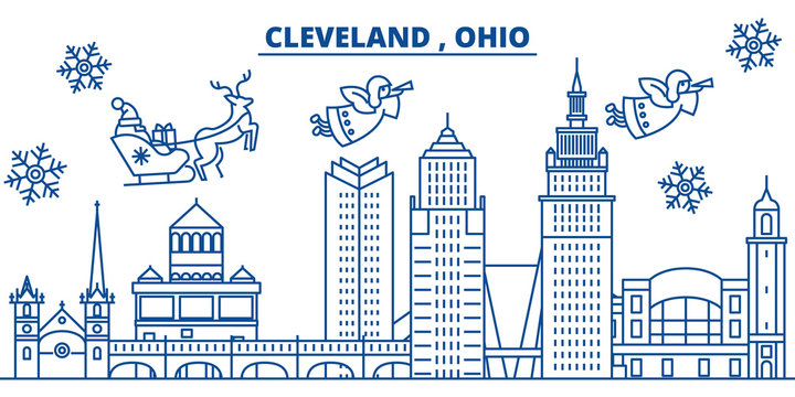 USA, Ohio, Cleveland  winter city skyline. Merry Christmas and Happy New Year decorated banner. Winter greeting card with snow and Santa Claus. Flat, line vector, linear christmas illustration