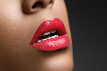 beautiful woman lips closeup
