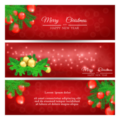 set of red New Year greeting banners with Christmas tree and Christmas balls