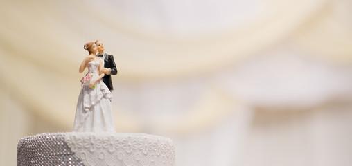 wedding doll cake. love couple . teddy bear on wedding cake