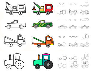 Illustration. Poster. Step-by-step drawing of machines for children. Coloring. Colour. How to draw a tractor. pickup truck, tow truck, crane.