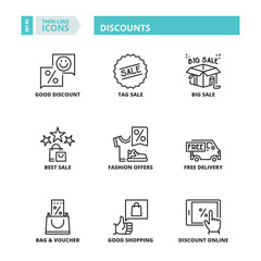 Thin line icons. Discounts