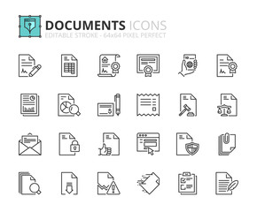 Outline icons about documents
