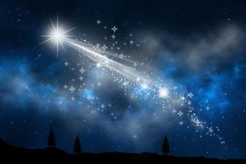 estrella fugaz cruzando el cielo