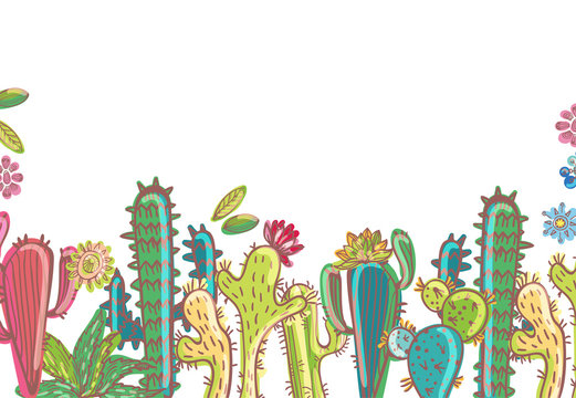 Mexico cactus  illustrations collection