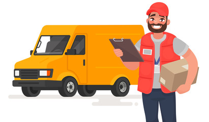 Smiling man courier with parcel on the background of a lorry. Vector illustration