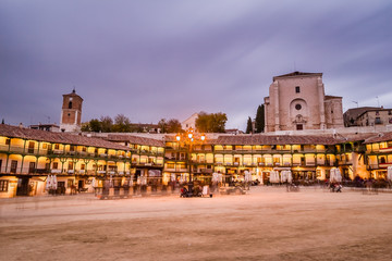 Spanish típica village of chinchon near Madrid capital in the province of Madrid. A Beautiful traditional buildings in this culture must to see travel to tourism