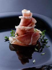Prosciutto with thyme.