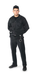 Male security guard on white background