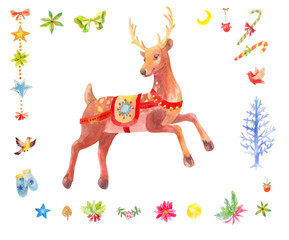 Watercolor Christmas set of deer and other winter elements