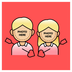 Photobooth couple boy and girl with arrow, happy valentine's day. Vector illustrator.