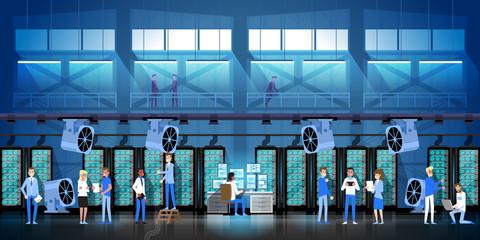 Bitcoin Mining Farm In Data Center Room Hosting Serve Digital Crypto Currency Modern Web Money Vector Illustration
