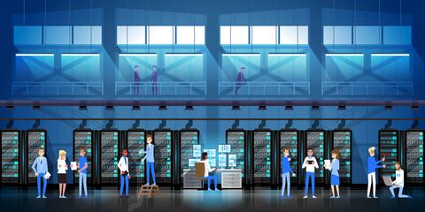 People Working In Data Center Room Hosting Server Computer Monitoring Information Database Flat Vector Illustration