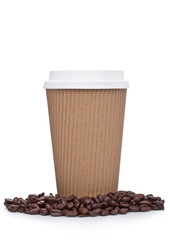 Cappuccino Coffee paper cup beans for takeaway