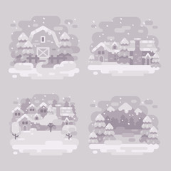 Set of four monochrome white winter landscape backgrounds. Snowy winter barn, village, town ant mountains flat illustration
