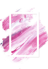 Pink art abstract background brush paint texture design acrylic stroke poster over square frame illustration. Perfect design for headline, logo and sale banner.
