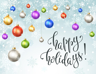 Happy holidays greeting card. Colorful and bright Merry Christmas balls with snowflakes on blue background. New Year vector illustration. Horisontal composition from Christmas balls.