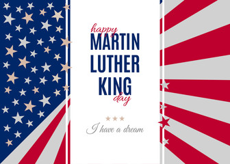 Happy Martin Luther King Day placard, poster or greeting card. Text isolated on white vertical banner. Abstract american flag background. Vector illustration
