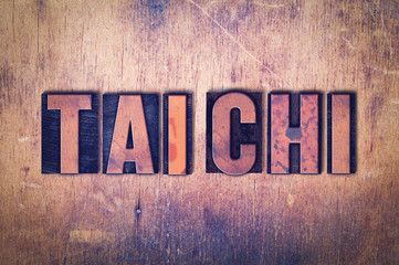 Tai Chi Theme Letterpress Word on Wood Background