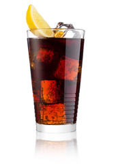 Glass of cold cola soda drink with lime and lemon