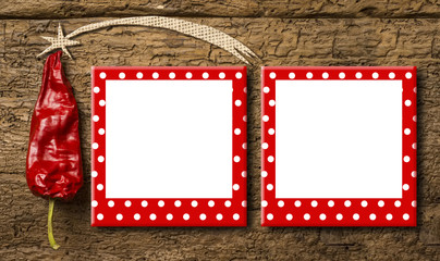 Christmas frame greeting card. Funny Christmas tree made with a red pepper and a star and two funny polka-dot frames to put pictures