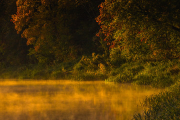 Image of morning mist over the surface of water
