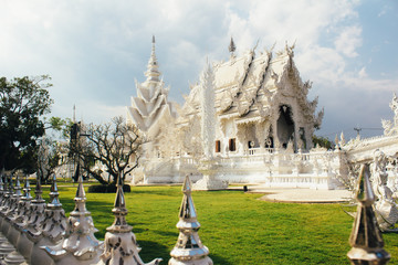 The details of  architecture of Wat Rong Khun (White Temple) - art exhibition in the style of a Buddhist temple in Chiang Rai Province, Thailand