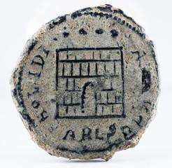 Ancient Roman copper coin of Emperor Constantine II. Reverse.