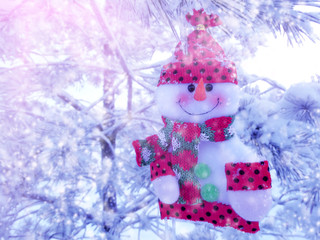 happy snowman christmas background with snow and snowflakes