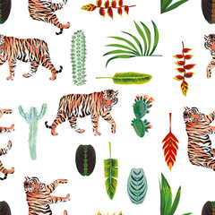 Wall Mural - Tiger leaves flowers cactus seamless white background
