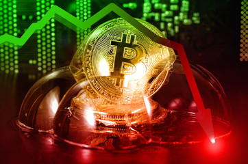 Bitcoin in a soap bubble. Unstable bitcoin concept. Exchange rate depreciation.