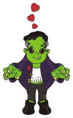frankenstein, halloween, holiday, man, monster, green, zombie, cartoon, illustration, scare, stand, in love, hearts