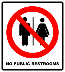No public restrooms symbol. Do not pooping and peeing people sign. No WC. Warning red banner for outdoors and forests with male, female silhouettes. Prohibition vector illustration isolated on white