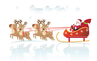 Happy New Year and Christmas Winter Holiday greeting card with snow, snowflakes, santa, reindeer, snowman, christmas balls, fir tree, stars, gifts, symbols, vector template, transparent lights effect.