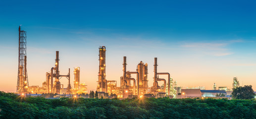 Landscape of Oil Refinery Plant and Manufacturing Petrochemical at Twilight Sunset Scenic View, Industry of Power Energy and Chemical Petroleum Product Factory. Building of Chemical Production Line