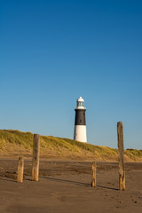 Refurbished lighthouse at Spurn Point in Yorkshire