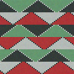 Bead ornaments. Abstract seamless pattern. African mosaic motif. Indigenous culture. Dark background. Simple backdrop for decoration, wallpaper or handywork.