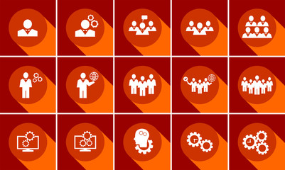 Set of business icons. Data, time or people management. Flat Design. Business Concept.