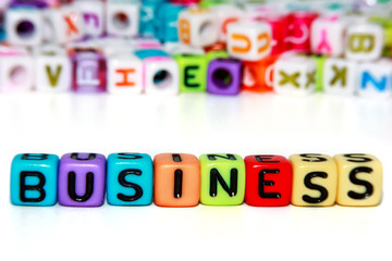 Business word from letter beads for business and finance concept