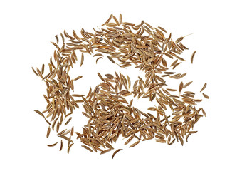 Pile of cumin seeds isolated on white background, top view