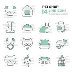 Veterinary shop line icons set for web and mobile design