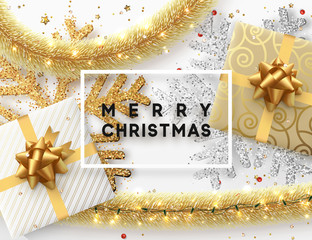 Christmas background. Design illustration golden bright decorations, shining sparkles of snowflakes, gift box, gold tinsel and light garland. Xmas card vector