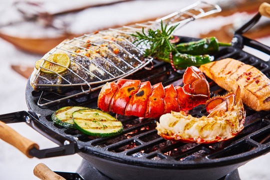 Winter barbecue with gourmet seafood grilling