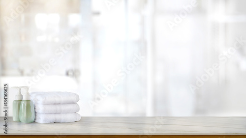 Ceramic Soap Green Bottles And White Cotton Towels On A Marble Counter Table Inside Bright