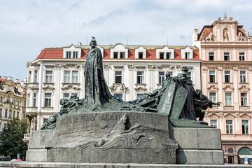 Jan Hus Memorial, Old Town Square, Prague, Czech Republic