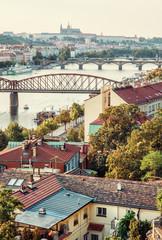 Castle and river Vltava with bridges, Prague, retro filter
